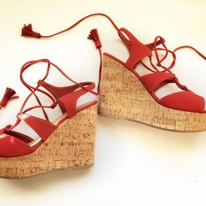 Soda Red Wedge Lace Around Ankle Sandal 8.5